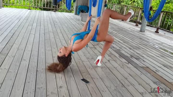 [Full HD] julieskyhigh aerial yoga in louboutin 15cm high heels - julieskyhigh - Amateur | High Heels, Swimwear, Gymnastics - 2,9 GB