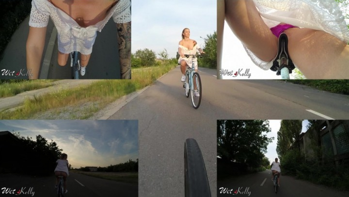 [Full HD] wet kelly riding my bicycle and flashing - Wet Kelly - Amateur | Flashing, Riding - 834,5 MB