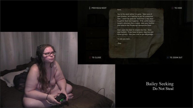[Full HD] last of us naked play through part 11   - SeekingBailey - -00:45:51   Video Game, Big Natural Tits - 1,6 GB